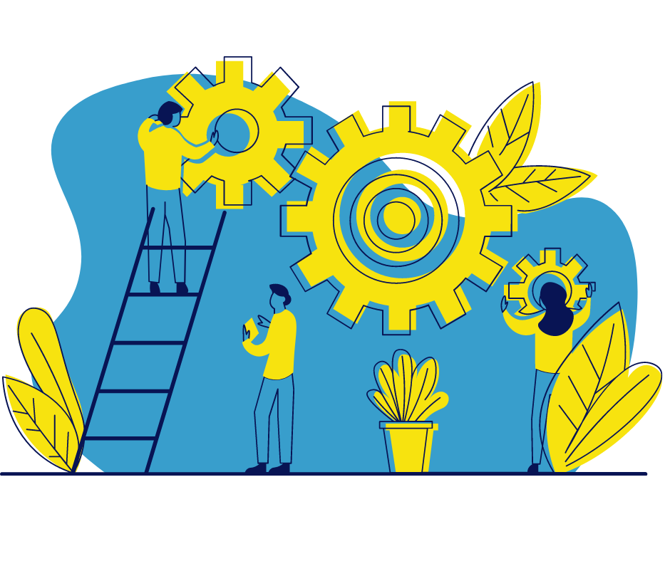 Illustration of three people fixing large yellow cogs on a wall. One of the figures is climbing a ladder. There is a potted plant in the middle and leaves on either side of the image.